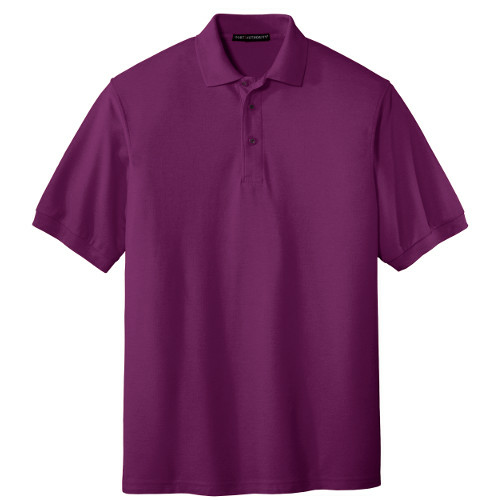 Deep Berry Port Authority Silk Touch Polo as seen from the front