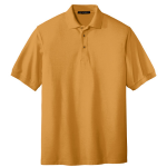 Gold Port Authority Silk Touch Polo as seen from the front