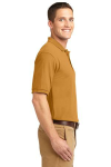 Gold Port Authority Silk Touch Polo as seen from the sleeveright