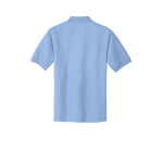 Light Blue Port Authority Silk Touch Polo as seen from the back