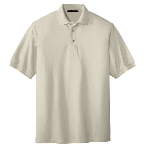 Light Stone Port Authority Silk Touch Polo as seen from the front