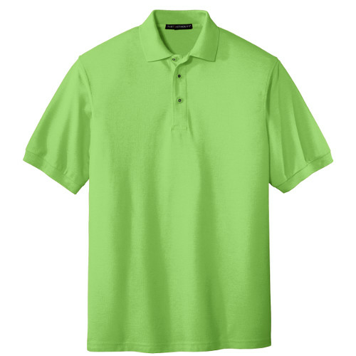 Lime Port Authority Silk Touch Polo as seen from the front