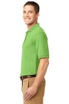 Lime Port Authority Silk Touch Polo as seen from the sleeveleft