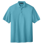 Maui Blue Port Authority Silk Touch Polo as seen from the front