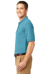 Maui Blue Port Authority Silk Touch Polo as seen from the sleeveleft