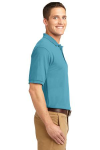 Maui Blue Port Authority Silk Touch Polo as seen from the sleeveright