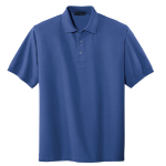 Med. Blue Port Authority Silk Touch Polo as seen from the front
