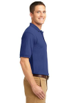 Med. Blue Port Authority Silk Touch Polo as seen from the sleeveright