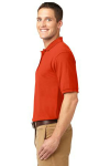 Orange Port Authority Silk Touch Polo as seen from the sleeveleft