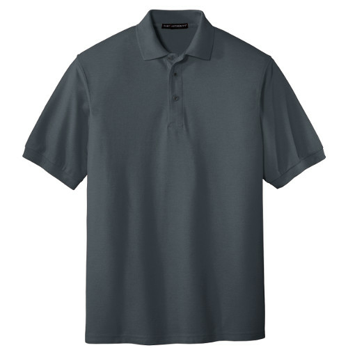 Steel Grey Port Authority Silk Touch Polo as seen from the front
