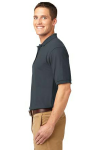 Steel Grey Port Authority Silk Touch Polo as seen from the sleeveleft