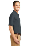 Steel Grey Port Authority Silk Touch Polo as seen from the sleeveright