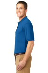 Strong Blue Port Authority Silk Touch Polo as seen from the sleeveleft
