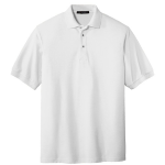 White Port Authority Silk Touch Polo as seen from the front
