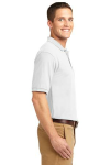 White Port Authority Silk Touch Polo as seen from the sleeveright