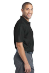 Black Port Authority Performance Vertical Pique Polo as seen from the sleeveright