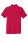 Red Port Authority Silk Touch Interlock Polo as seen from the back