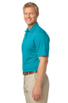 Deep Teal Blue Port Authority Tech Pique Polo as seen from the sleeveleft