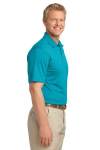 Deep Teal Blue Port Authority Tech Pique Polo as seen from the sleeveright