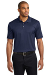 True Navy Port Authority Performance Fine Jacquard Polo as seen from the front