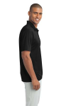 Black Port Authority Silk Touch Performance Polo as seen from the sleeveright