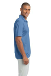 Carolina Blue Port Authority Silk Touch Performance Polo as seen from the sleeveright