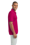 Pink Raspberry Port Authority Silk Touch Performance Polo as seen from the sleeveright