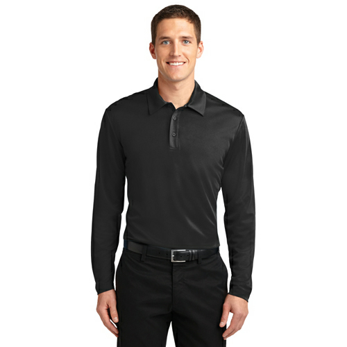 Port Authority Silk Touch Performance Long Sleeve Polo - Embroidered
