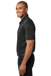 Black Steel Gy Port Authority Silk Touch Performance Colorblock Stripe Polo as seen from the sleeveleft