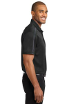 Black Steel Gy Port Authority Silk Touch Performance Colorblock Stripe Polo as seen from the sleeveright