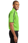 Lime Steelgrey Port Authority Silk Touch Performance Colorblock Stripe Polo as seen from the sleeveright