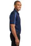 Navy Carolinab Port Authority Silk Touch Performance Colorblock Stripe Polo as seen from the sleeveright