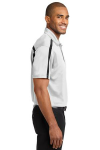 White Black Port Authority Silk Touch Performance Colorblock Stripe Polo as seen from the sleeveright