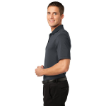 Graphite Black Port Authority Fine Stripe Performance Polo as seen from the sleeveleft