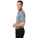 White Shad Gry Port Authority Fine Stripe Performance Polo as seen from the sleeveleft