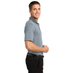 White Shad Gry Port Authority Fine Stripe Performance Polo as seen from the sleeveright