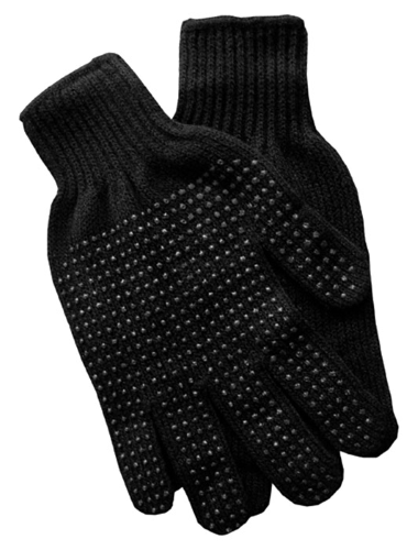 Black Gripper Gloves as seen from the front