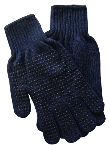 Navy Gripper Gloves as seen from the front