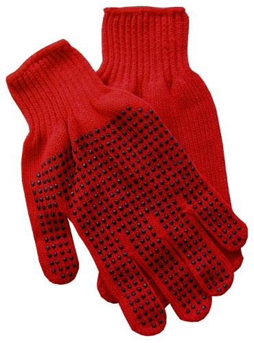 Red Gripper Gloves as seen from the front