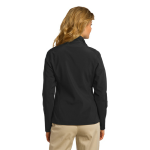 Black Port Authority Ladies Core Soft Shell Jacket as seen from the back