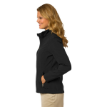 Black Port Authority Ladies Core Soft Shell Jacket as seen from the sleeveleft