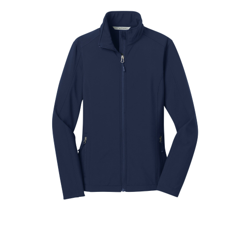 Dress Blue Nvy Port Authority Ladies Core Soft Shell Jacket as seen from the front