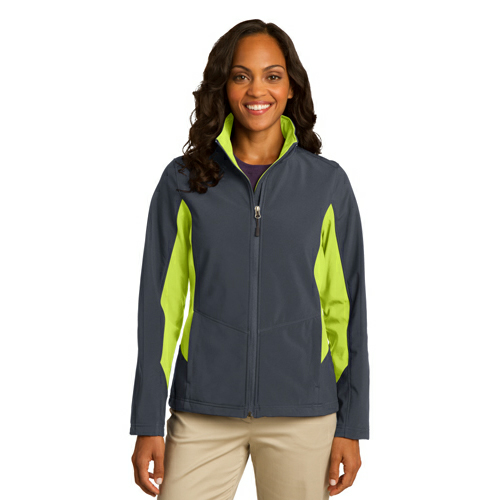 Bat Gry Ch Grn Port Authority Ladies Core Colorblock Soft Shell Jacket as seen from the front