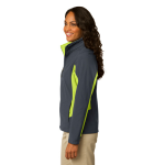 Bat Gry Ch Grn Port Authority Ladies Core Colorblock Soft Shell Jacket as seen from the sleeveright