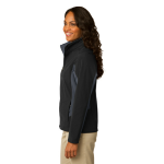 Black Bat Grey Port Authority Ladies Core Colorblock Soft Shell Jacket as seen from the sleeveright