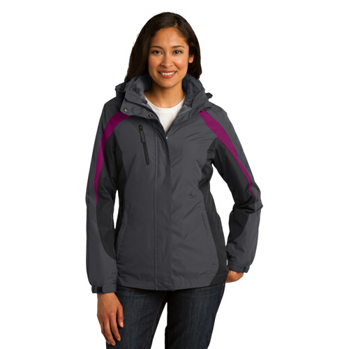 Mag Gy Blk Bry Port Authority Ladies Colorblock 3-in-1 Jacket as seen from the front