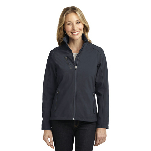 Batlshp Grey Port Authority Ladies Welded Soft Shell Jacket as seen from the front