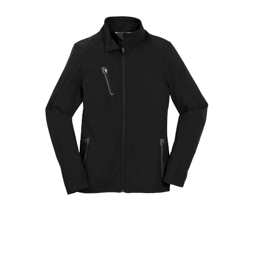 Black Port Authority Ladies Welded Soft Shell Jacket as seen from the front