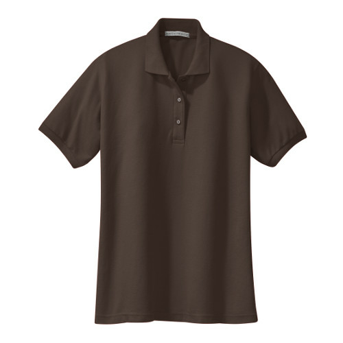 Coffee Bean Port Authority Ladies Silk Touch Polo as seen from the front