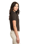 Coffee Bean Port Authority Ladies Silk Touch Polo as seen from the sleeveright